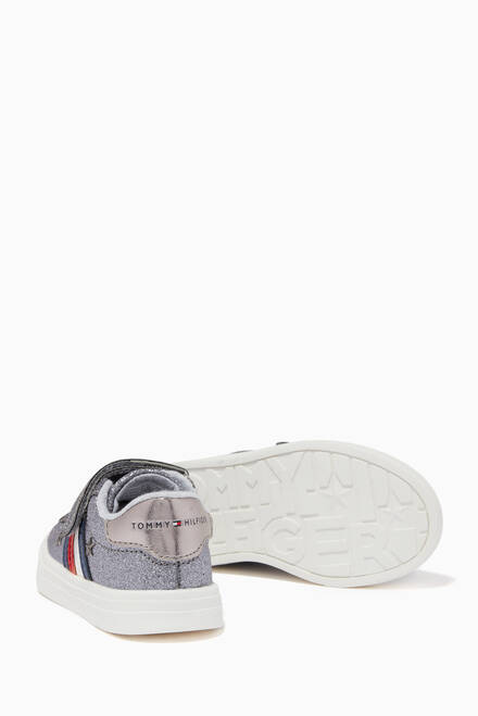 hover state of Star Low Top Velcro Sneakers in Faux Glitter Leather