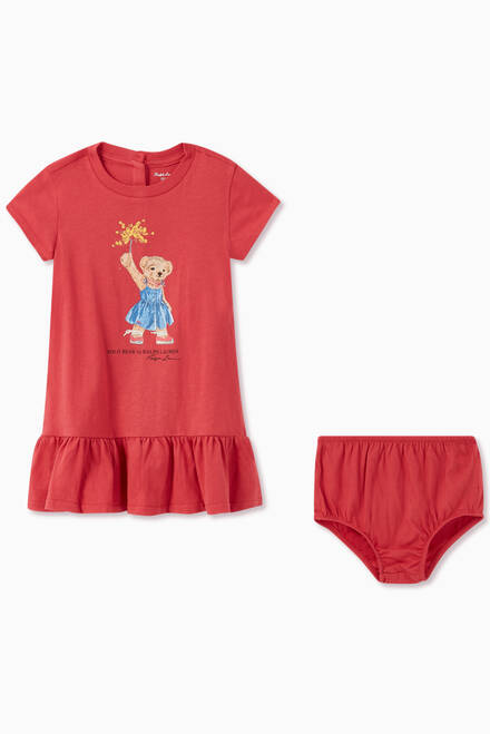 hover state of Sparkler Bear Cotton Dress Set
