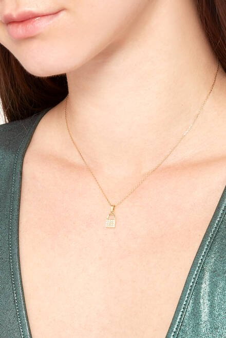 hover state of Diamond Lock Pendant Necklace in 18kt Yellow Gold