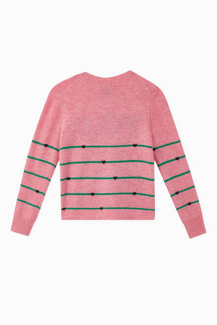 hover state of Striped Heart Wool Jumper