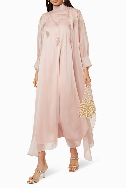 hover state of High-Neck Sequin Embroidered Kaftan