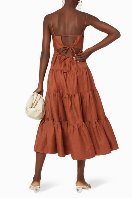 hover state of Elsa Linen-Blend Tiered Midi Dress