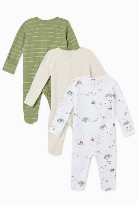 hover state of Tractor Cotton Sleepsuit, Set of 3