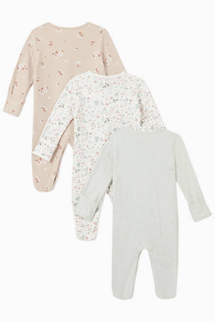 hover state of Ditsy Cotton Sleepsuit, Set of 3