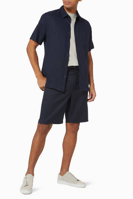 hover state of Linen Blend Shorts