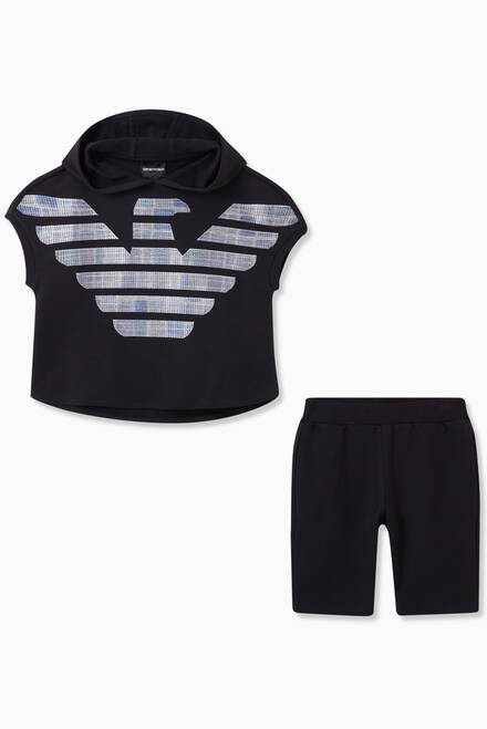 hover state of EA Eagle Mosaic Sweatshirt & Shorts Set