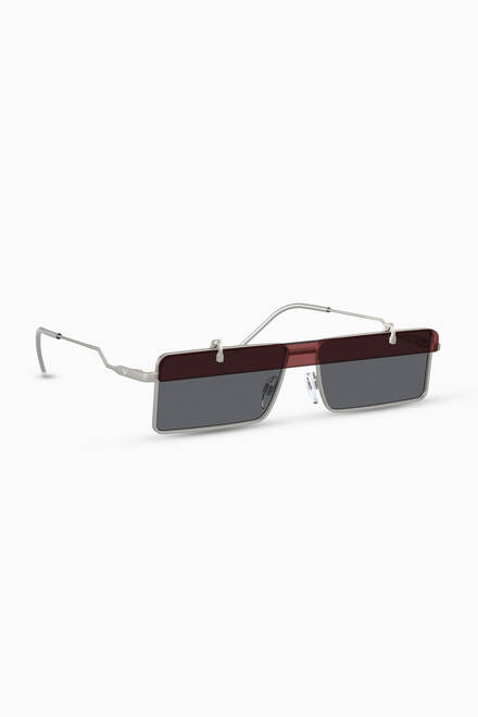 hover state of Geometric Square Sunglasses in Metal