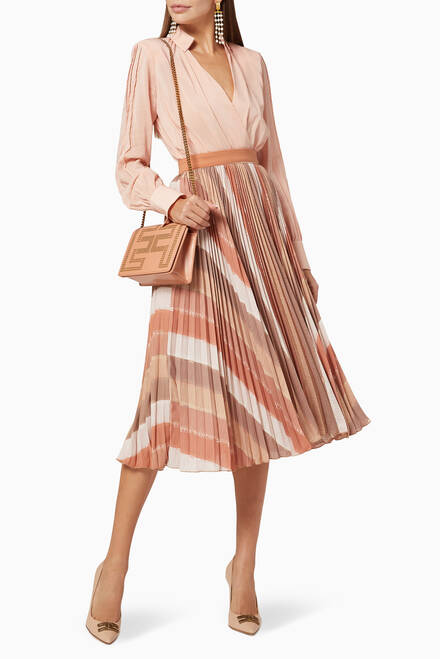 hover state of Logo Striped Pleated Midi Skirt