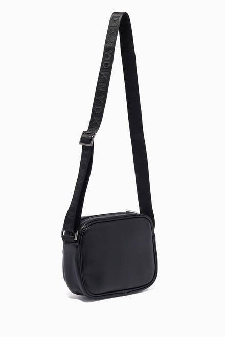 hover state of Logo Print Crossbody Bag in Faux Leather