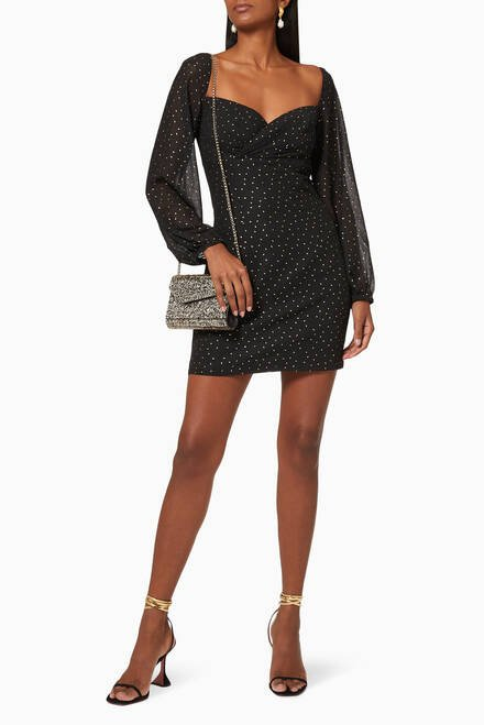 hover state of Jane Metallic Embroidered Dress