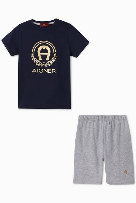 hover state of Logo Cotton Jersey Pyjama Set