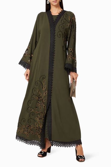 hover state of Beaded Lace Trim Abaya