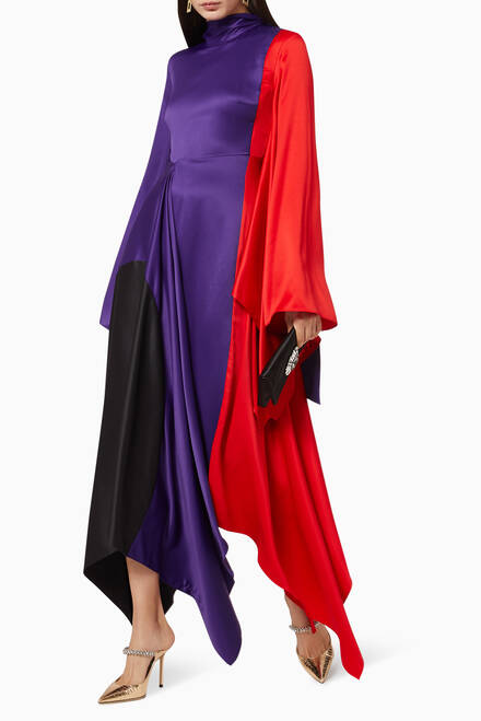 hover state of Ella Satin Midaxi Dress