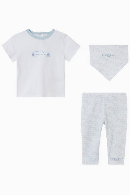 hover state of Logo T-Shirt, Leggings & Bib Set in Cotton Jersey