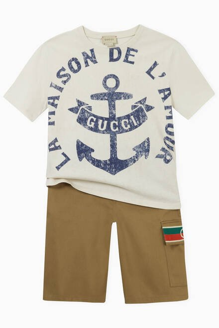 hover state of Anchor Print T-shirt in Cotton
