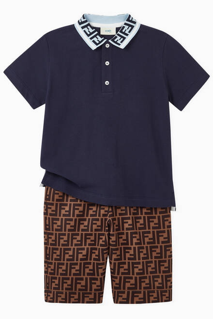 hover state of Monogram Collar Polo Shirt in Cotton Piqué