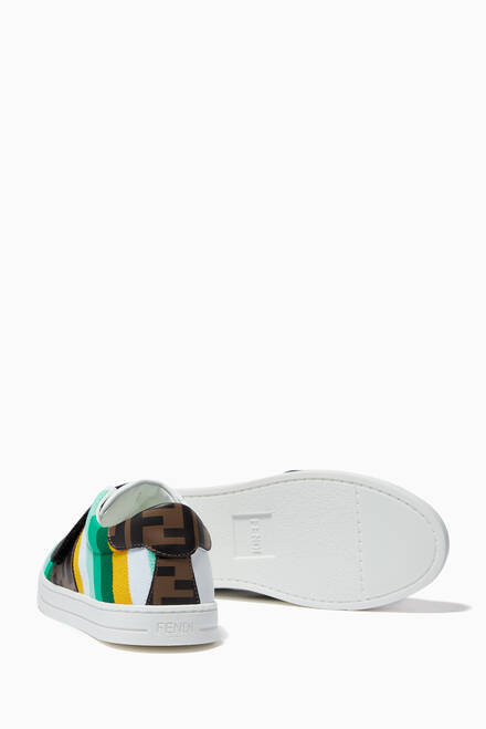 hover state of FF Logo Stripe Velcro Sneakers in Leather