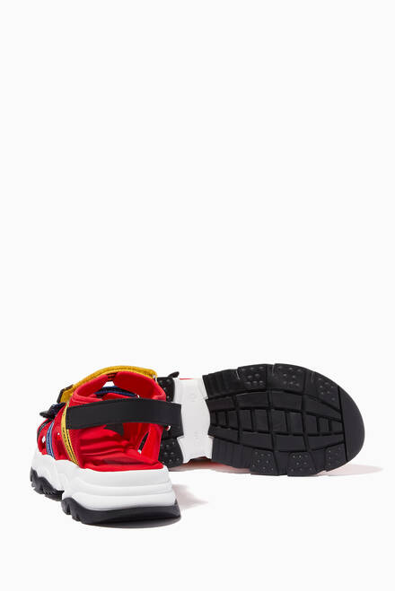 hover state of Trekking Sandals with Jacquard Logo in Mesh