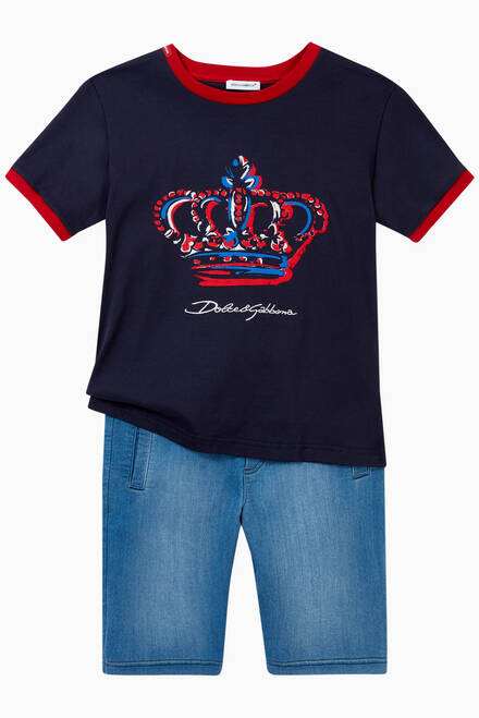 hover state of T-shirt with Crown in Cotton Jersey