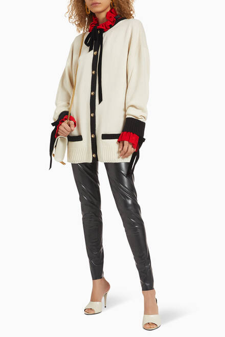 hover state of Long Contrasting Trim Cashmere Cardigan