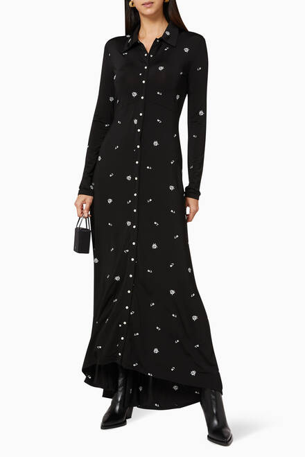 hover state of Embroidered Jersey Maxi Shirt Dress