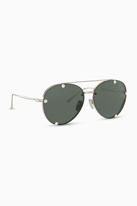 hover state of Studded Pilot Frame Metal Sunglasses