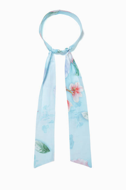 hover state of Floral Print Hair Band in Stretch Cotton
