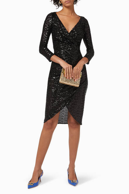 hover state of Draped Dress with Sequin