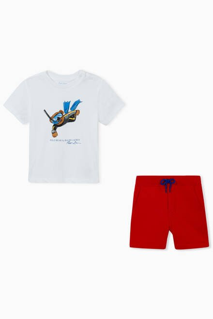 hover state of Snorkelling Bear T-shirt & Shorts Set in Cotton