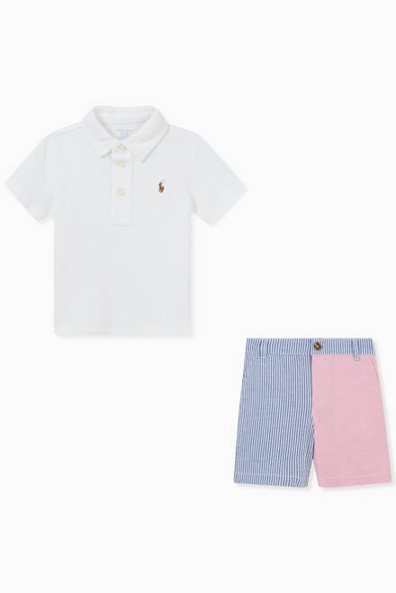 hover state of Polo Shirt & Striped Shorts Set in Cotton