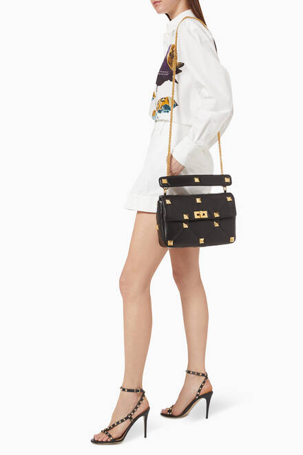 hover state of Valentino Garavani Roman Stud Small Shoulder Bag in Nappa Leather