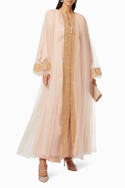 hover state of Eila Mesh Cape & Satin Dress Set