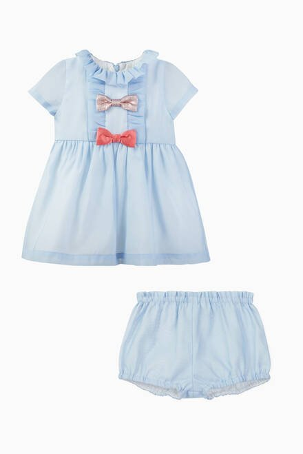 hover state of Multi Bow Crepe Dress & Bloomers