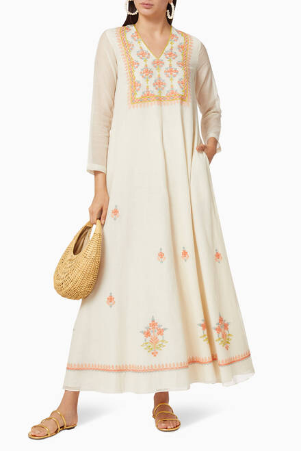 hover state of Embroidered Silk Blend Dress