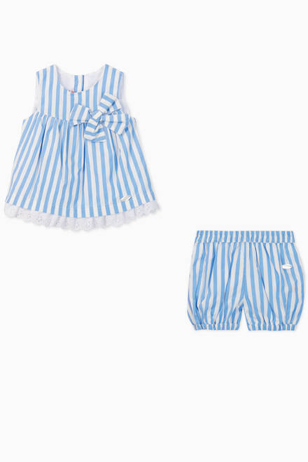 hover state of Sofie Striped Poplin Top & Bloomers Set