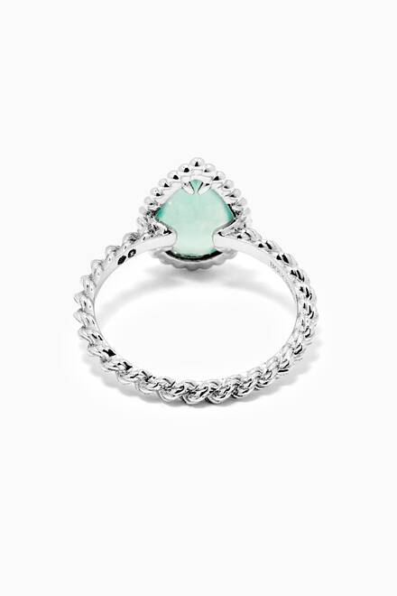 hover state of Serpent Bohème Aquaprase Ring in 18kt White Gold, S Motif