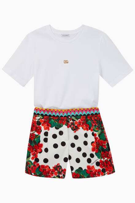 hover state of Polka Dot Floral Cotton Shorts