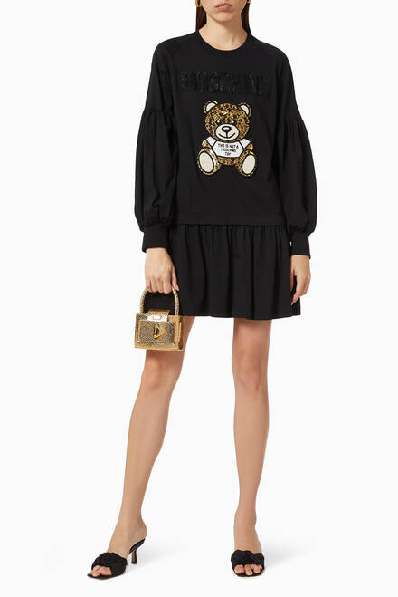 hover state of Teddy Bear Sweatshirt Dress in Cotton