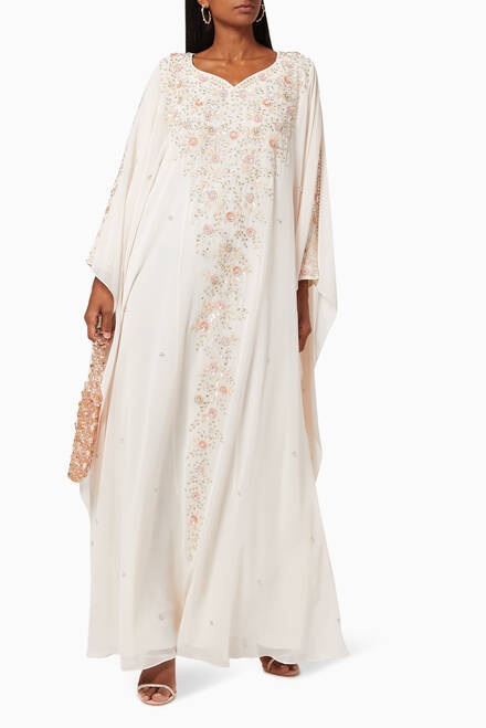 hover state of Floral Embroidered Thoub in Silk