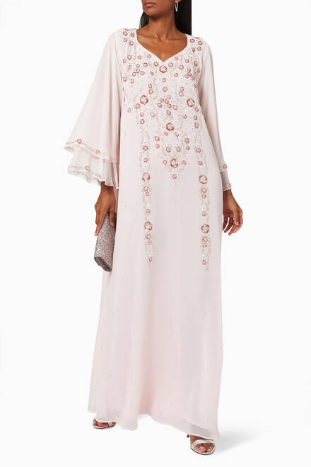 hover state of Floral Embroidered Dress in Chiffon