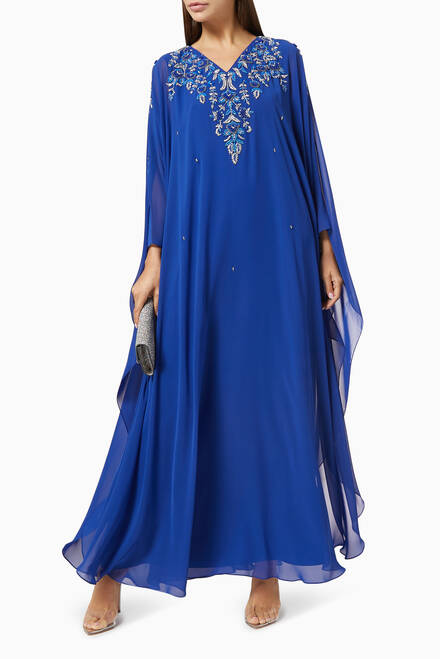 hover state of Sequin Embroidered Kaftan in Chiffon