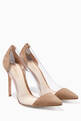 thumbnail of Light-Brown Suede Plexi Pumps #0