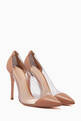 thumbnail of Beige Patent-Leather Plexi Pumps #0