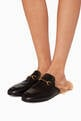 thumbnail of Black Leather & Lamb-Lined Princetown Loafers #1