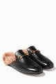 thumbnail of Black Leather & Lamb-Lined Princetown Loafers #0