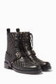 thumbnail of Black Rockstud Spike Combat Boots #0