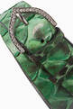 thumbnail of Light-Green Snake Leather And Cubic Zirconia Bracelet #3