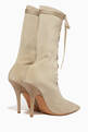 thumbnail of Beige Lace-Up Sock Boots #2