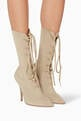 thumbnail of Beige Lace-Up Sock Boots #1