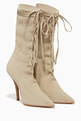 thumbnail of Beige Lace-Up Sock Boots #0
